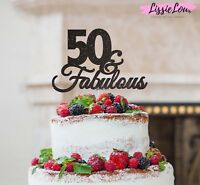 LissieLou 50 & Fabulous Cake Topper 50th Birthday Glitter Card Made in the UK
