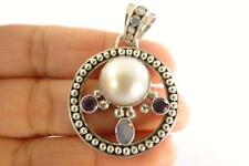 White Mabe Pearl Purple Amethyst Blue Opal 925 Sterling Silver Pendant