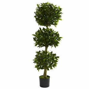 Nearly Natural 5' Triple Bay Leaf Topiary UV Resist Artificial Home Garden Decor