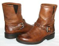 ❤️ STEVE MADDEN Flaiir Braid Buckle Brown Leather Zip Boots 9 M GREAT! L@@K!14