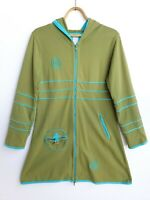 Deerberg Womens Long Hooded Jumper Jacket sz M Green Turquoise Blue Lagenlook