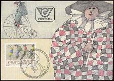 Austria 1985 L'ARTE MODERNA, Pagliacci, biciclette massimo CARD #C 21452