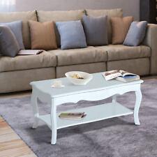 HOMCOM Couchtisch Beistelltisch Wohnzimmertisch Tisch mit Ablagefach Holz Weiß