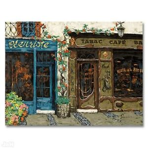 """""""Cafe Tabac"""" by Viktor Shvaiko LIMITED EDITION Hand-Embellished Serigraph Canvas"""