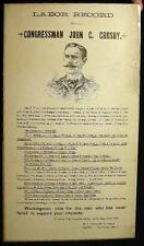 C 1890 LABOR VOTE POLITICAL ELECTION BROADSIDE JOHN C CROSBY MASSACHUSETTS