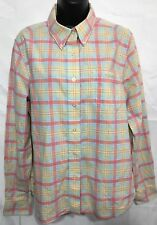 Rockies Women's Long Sleeve Multicolor Button Down Shirt  Plaid Cotton Size L