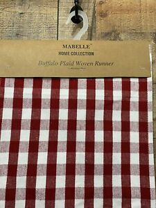 Table Runner Red & White Buffalo Plaid Woven Checkered Mabelle Collection