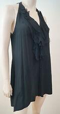 Mini vestido mezcla de seda negro diseñador VINCE inmersión escote en V de detalle de volantes Talla: M