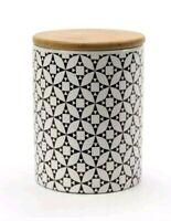 Barattoli in Ceramica Contenitori Barattolo Legno Caffè Sale Zucchero Casa 13 cm