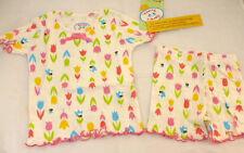 Saras Prints Pajamas Girls Size 2 Boutique Flowers Tulips Bees 2 Piece NEW