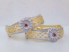 Ethnic Simulated Cubic Diamond Bangles Gold & Silver Tone Ruby Bracelet Set 2.10