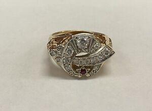14k Gold Diamond & Ruby Shriners Ring Size 12