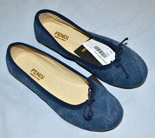 New Authentic Fendi Girl's Blue Zucca Print Flat Slip On Shoes (Size 31) Size 13