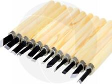 12pc Set Carbon Steel Cutting Wood Carving Tools Knifes Chisels Woodwork Crafts