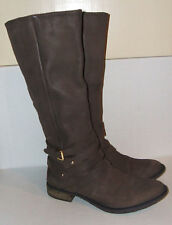 STEVE MADDEN ALBANY Women's Brown Leather Knee-High Riding Zipper Boots SZ 8 US