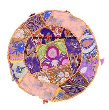 Indian Patchwork Khambadia Cushion Covers Yellow Round Floor Pillow Cover Throw