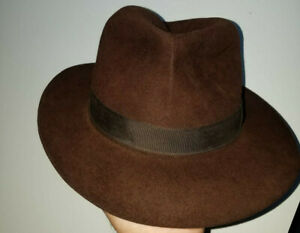 Christys' of London Hand Made 100% Fine Fur Felt Trilby Fedora Hat Size 7 Brown