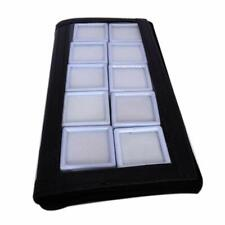 Jewelry Bag Display Carry with 10 PCS of Glass TOP 4X4 cm White LID Cover Zipper