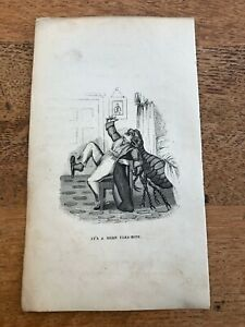 """early 1800s small caricature """" its a mere flea - bite  """""""