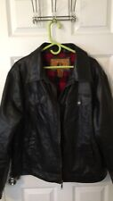 Mens Coat XL NY Classics Black with Buffalo Plaid lining excellent condition