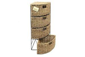 Storage 4 Tier Corner Drawer Kitchen Bedroom Seagrass Tidy Basket Bathroom Unit
