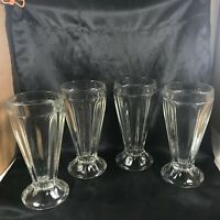 """Set of 4 Ice Cream Parlor Float Sundae 7-1/4"""" Clear Ribbed Glasses"""