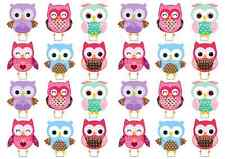 24 Shabby Chic Vintage Owls Birthday STAND UP Cup Cake Edible Wafer Rice Toppers
