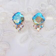 Erinite Shimmer AB Square Stud Earrings With CRYSTALLIZED™ Swarovski Elements