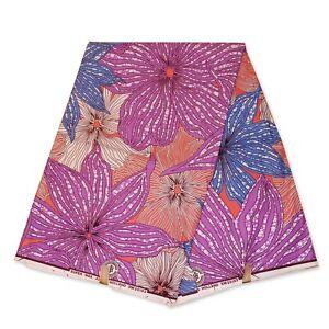 "African fabric PEACH BLUE super wax fabric ""BIG FLOWERS"" Ankara wax print cloth"
