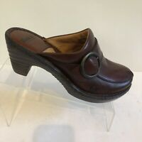 Born Concept Women's Mules Clogs Brown Leather size 9M /EURO 40.5 Buckle (UK6.5)