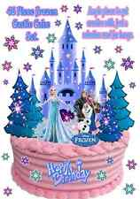 FROZEN Disney ICE CASTLE Elsa Anna Olaf WAFER Stand Up Birthday Cup Cake Toppers