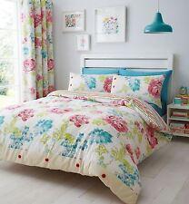 Catherine Lansfield Stab Stitch Floral Design Cotton Rich Duvet Set Bedding Single
