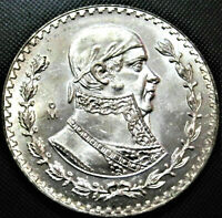 Brilliant Uncirculated LARGE 34mm Silver Mexico Un Peso Coin! Jose Morelos!