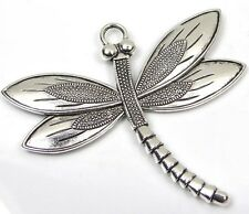 1  Antique Silver Pewter Dragonfly Focal Charm Pendant 58x67mm