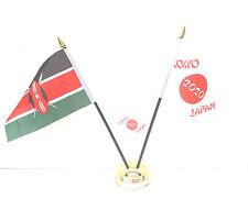 Kenya & Tokyo Japon Olympiques 2020 Bureau Drapeaux & 59mm Lot de Badges