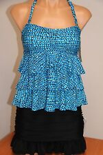 NWT Island Escape Swimsuit Tankini 2pc Set Sz 14 Bandini Ruffles Skirt BLK Blue