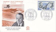 Enveloppe 1er jour FDC n°12 - 1970 : Avion Saint Exupéry et Jean Mermoz Lyon