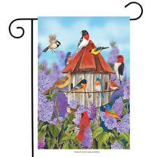 """Birds and Lilacs Spring Garden Flag Birdhouse Floral Cardinal 12.5"""" x 18"""""""