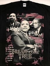 Mens 3XL Urban Hip-Hop Barack Obama Martin Luther King Malcolm X Black T-Shirt