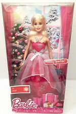 """Mattel 12"""" BARBIE DOLL HOLIDAY SPARKLE CHRISTMAS Red Silver Dress Jewelry Gift"""