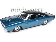 AUTOWORLD AW24005 CUSTOM 1969 DODGE CHARGER 500 1/24 DIECAST MODEL CAR BLUE POLY