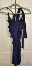 REBECCA TAYLOR  Dark Navy Blue Silk Waist Tie Blouson Dress with ruffles Sz 6