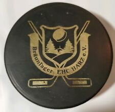 BRAUNLAGER EHC HARZ e.V. VINTAGE RARE OFFICIAL HOCKEY PUCK MADE IN SLOVAKIA