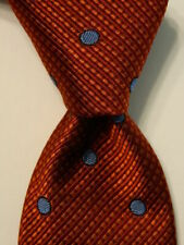 HICKEY FREEMAN Boy's Youth Silk Necktie Designer POLKA DOT Orange/Blue PERFECT