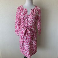Boden British Style women's  long sleeve linen dress size 4R W0489 PIN