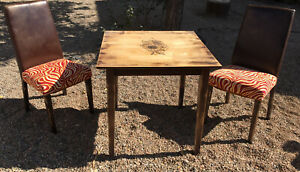 Rustic Wood Sunflower Engraved Table And Chairs