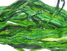 100 Skeins Crafts Sari Silk Ribbon Yarn Bright Green Undyed Recycled Ribbons
