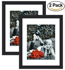 (2-pack) 11x14 Inch Picture Frame Black - GLASS FRONT - Displays 8x10 w/ Mat