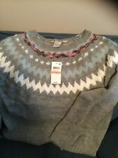 NWT American Rag Cie Juniors' Printed Sweater heather grey small