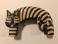 RARE Laurel Burch Artist Carved Wood Cat Figurine~Black & Beige (striped)